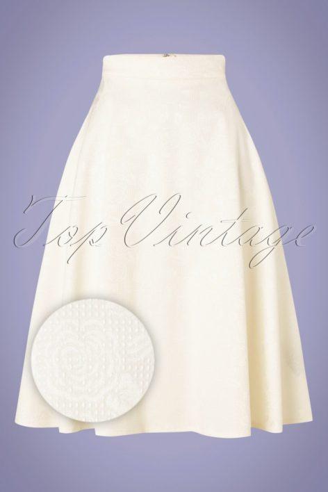 60s Preppy Roses Skirt in Ivory White
