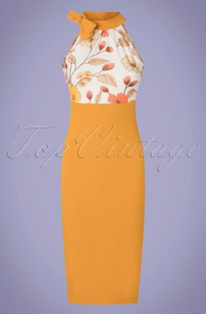 60s Raegen Floral Pencil Dress in Gold Yellow