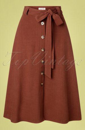 60s Rosanna Midi Skirt in Rust Linen