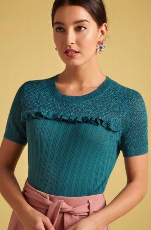 60s Ruffle Ravenna Top in Lapis Blue