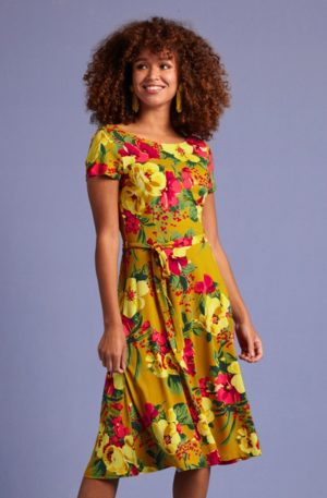 60s Sally Lavish Dress in Spice Yellow