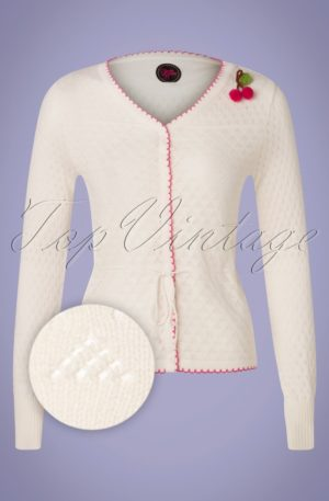 60s Summer Frutti Cardigan in White