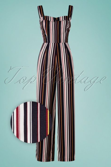 60s Sunny Stripes Jumpsuit in Navy