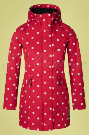 60s Talia Polkadot Jacket in Red