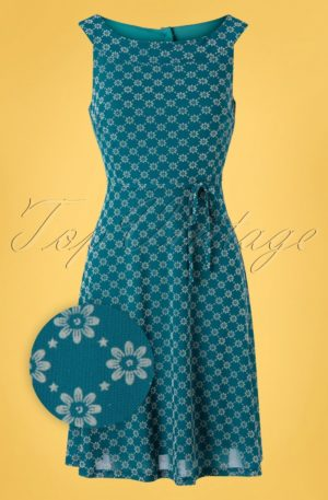 60s Tilly Keyline Dress in Bay Blue