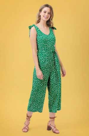 70s Athina Painterly Spot Culotte Jumpsuit in Green and White