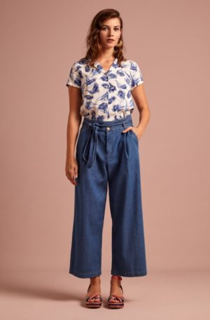 70s Ava Chambray Pants in River Blue