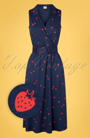 70s Boogaloo Party Dress in Eat Me Navy