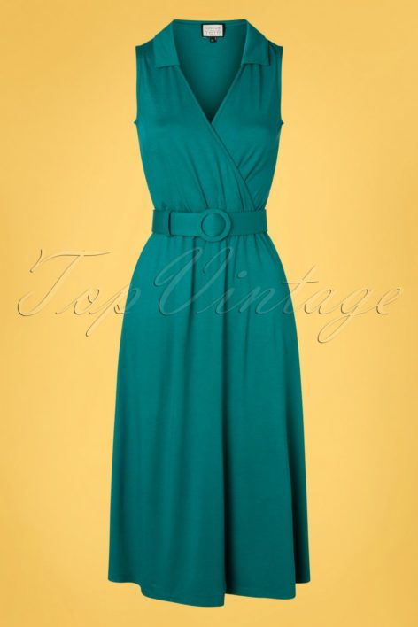 70s Boogaloo Party Dress in Teal Green