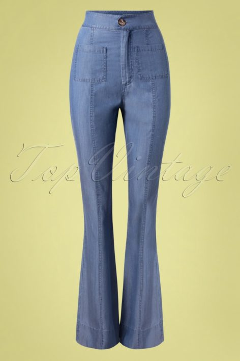 70s Bria Slight Bell Straight Trousers in Denim Blue