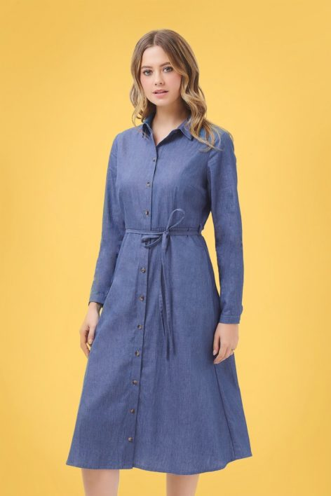 70s Britney Chambray Shirt Dress in Denim Blue