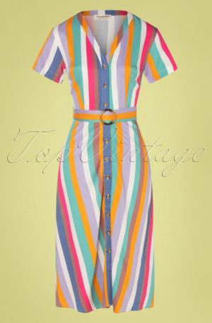 70s Cassidy Cruise Stripes Midi Dress in Multi