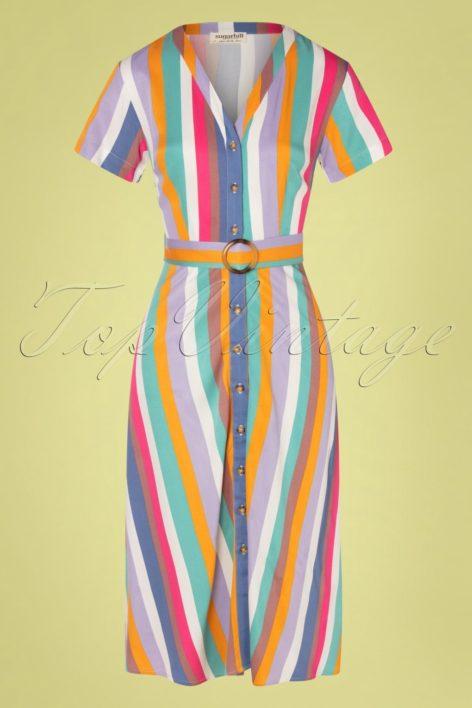 70s Cassidy Cruise Stripes Midi Dress in Multi