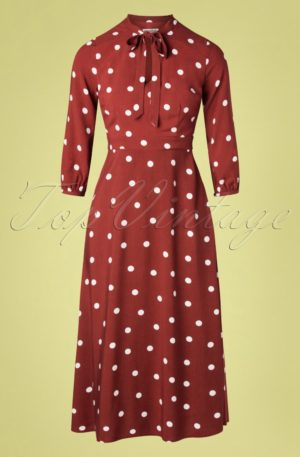 70s Cecily Polka Midi Dress in Brick Red