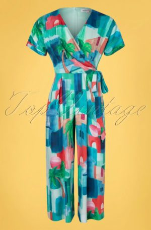 70s Jenna Wrap Jumpsuit in Marrakech Landscape Blue