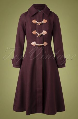70s Lenny Plain Coat in Burgundy