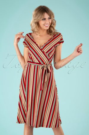 70s Mira Dress in Lido Stripe Chili Red