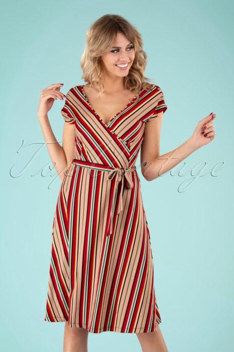 70s Mira Dress in Lido Stripe Chili Red