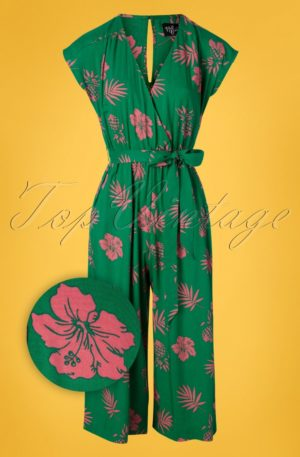 70s Pineapple Jumpsuit in Green and Pink
