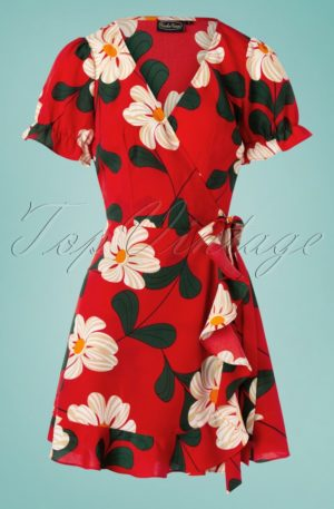 70s Reem Floral Wrap Dress in Red