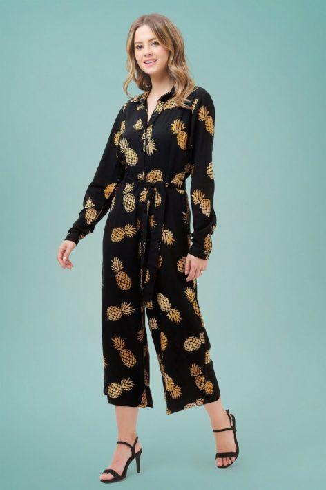 70s Sienna Pineapple Batik Wide Leg Jumpsuit in Black