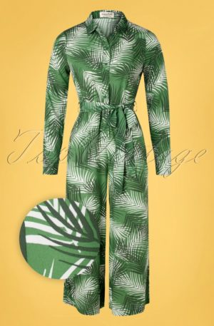 70s Sienna Shady Palm Wide Leg Jumpsuit in Green