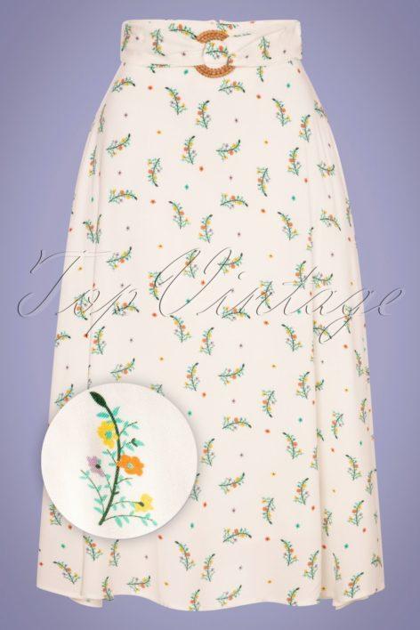 70s Spring Sprig Midi Skirt in Ivory