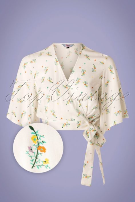 70s Spring Sprig Wrap Blouse in Ivory