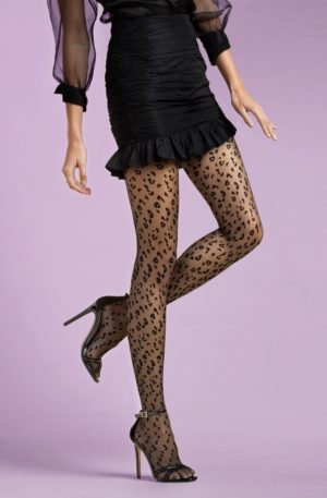 Claudia Leopard Tights in Black
