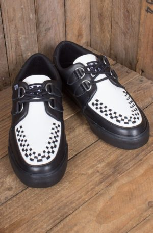TUK VLK Creeper Sneaker Black & White D-Ring von Rockabilly Rules