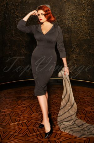 The Amy Pencil Dress in Grey