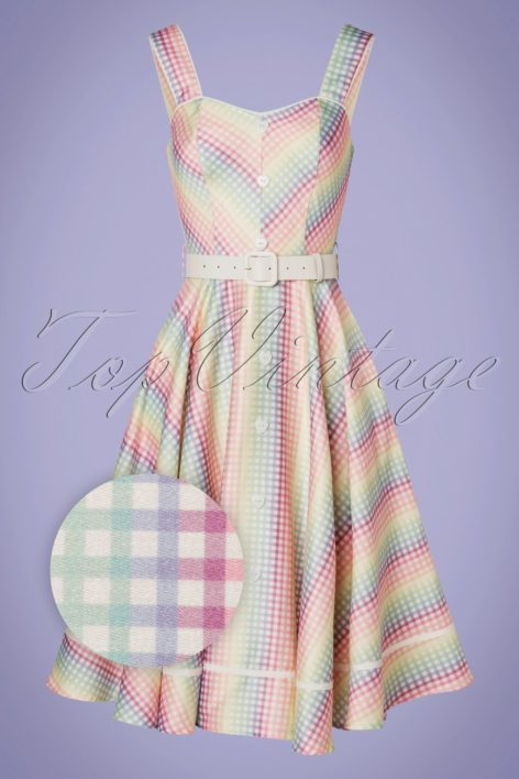 Unreal Redheads Collaboration ~ 50s Trixie Gingham Swing Dress in Rainbow