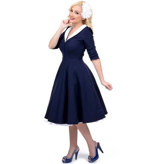 CbqZZQUFA6_Unique_Vintage_Navy_Ivory_Three-Quarter_Sleeve_Eva_Marie_Stretch_Swing_Dress