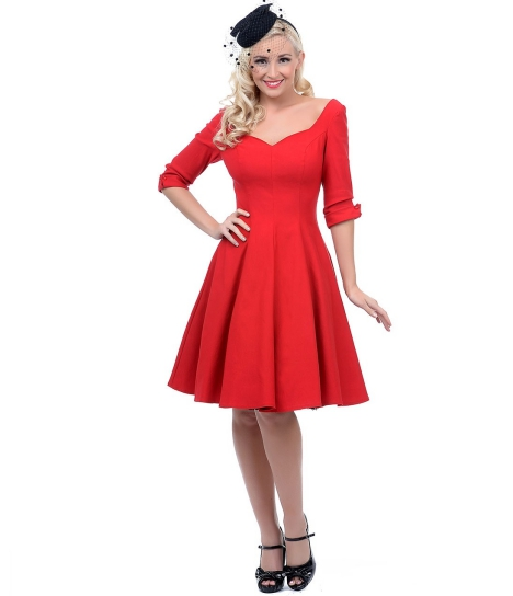 rYjoyJbelh_Unique_Vintage_Red_Three-Quarter_Sleeve_Cocktail_Dress