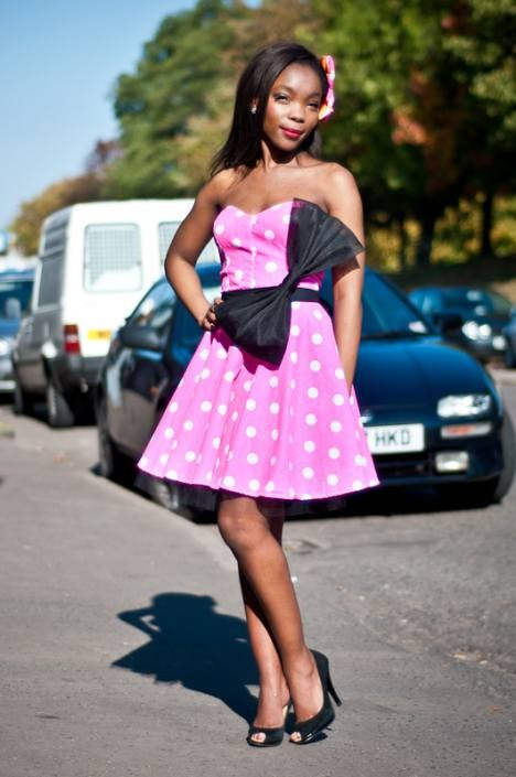 pink polka dot pin up party dress