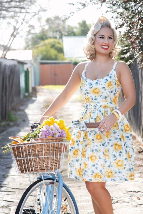 Powderpuff_boutique_pinup_sadie_dress_60s_floral_bike_yellow_rose_texas_pinup_girl_clothing_austalian_made_rockabilly_ricrac