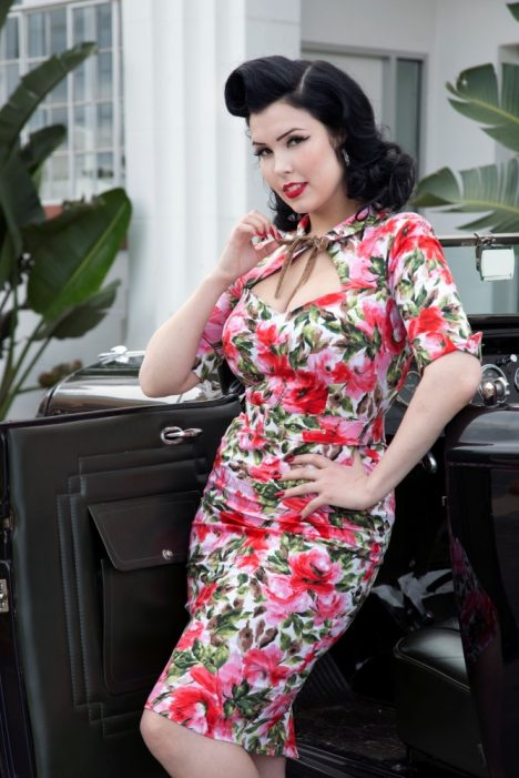 powderpuff_boutique_audrey_dress_40s_wiggle_pencil_skirt_dress_elixir_black_floral_spring_fling_pinup_hotrod_rancho_deluxe
