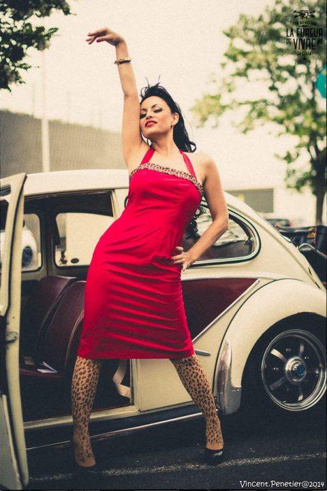 rotes vintage kleid