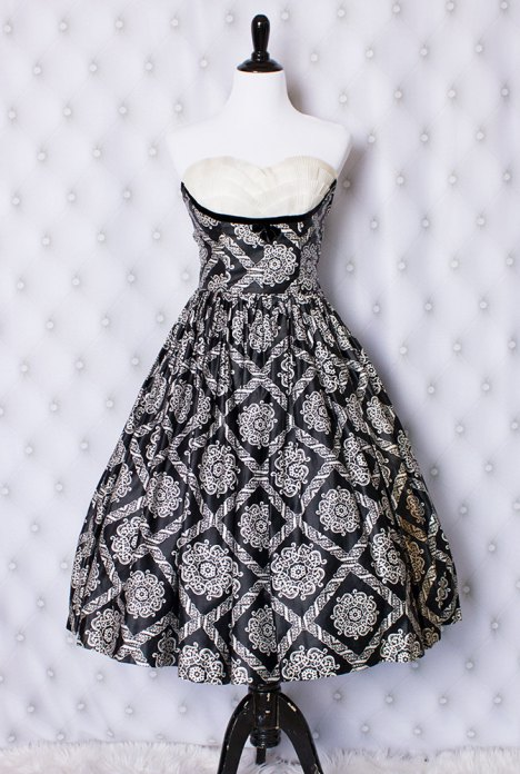 Black-and-white-strapless-dress-front