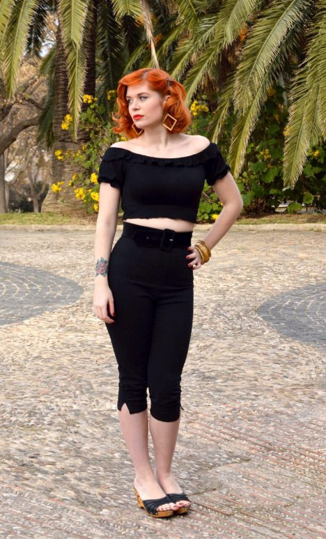 claudia blasco barcelona 50s ropa tienda capri mexican black top copy