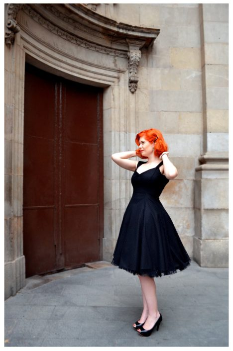 moda pin up vestido negro topos novia boda noche 50s retro vintage barcelona