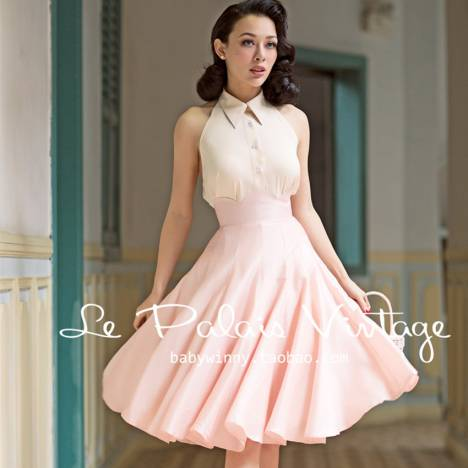 free-shipping-le-palais-vintage-2016-summer-new-elegant-light-pink-wave-edge-high-waist-middle